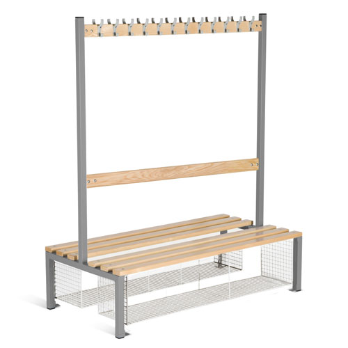 School Double Sided 12 Hook Bench Seat With Shoe Tray