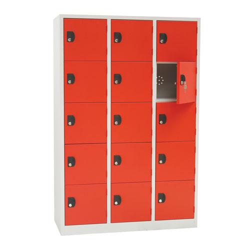 Manutan Nest of 3 Five Door Lockers - 1800x1185x500mm