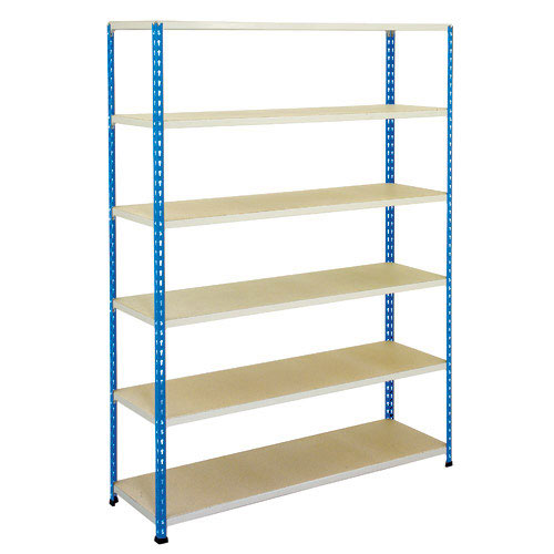 Rapid 2 Blue & Grey Shelving HxW 1980x1525 With 6 Chipboard Shelves