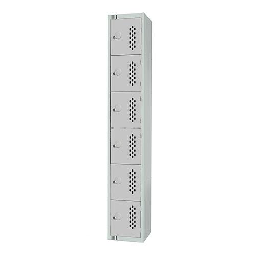 6 Door Perforated Locker 1830x300x450mm Cylinder Lock
