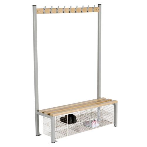 Locker Single Sided 9 Hook Bench Seat With Baskets