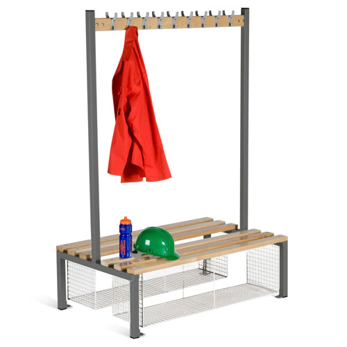 Locker Double Sided 9 Hook Bench Seat With Shoe Tray