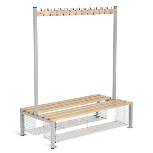 Locker Double Sided 12 Hook Bench Seat With Shoe Tray