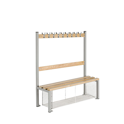 School Single Sided 9 Hook Bench Seat With Shoe Tray