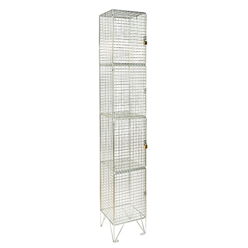 Wire Mesh Lockers 4 Door - 1980x305x305mm