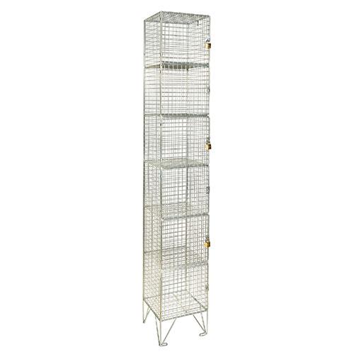 Wire Mesh Lockers 6 Door - 1980x305x305mm