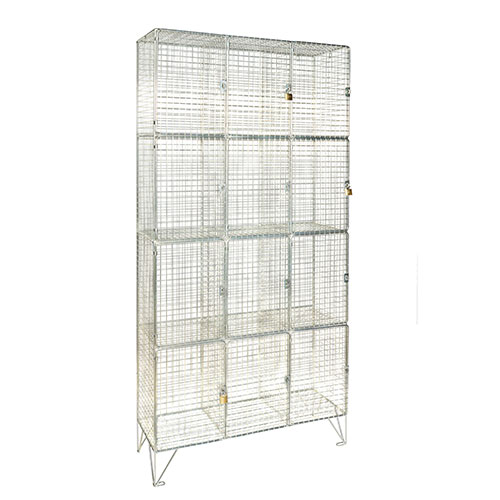 Wire Mesh Lockers 12 Compartments with Doors - 1370x910x305mm