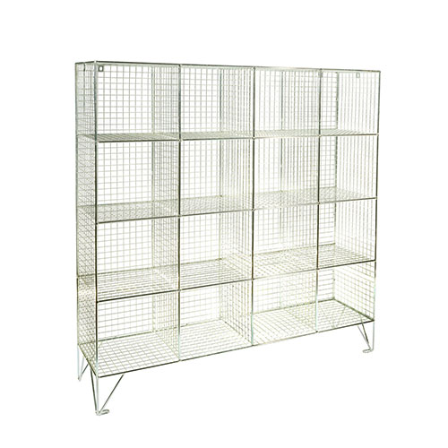 Wire Mesh Lockers 16 Compartments - 1370x1210x305mm