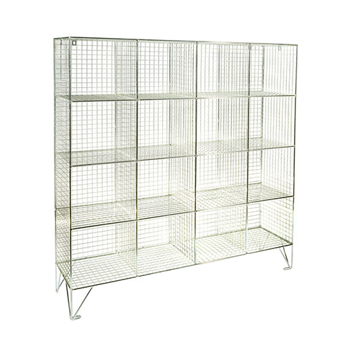 Wire Mesh Lockers 16 Compartments - 1370x1210x457mm