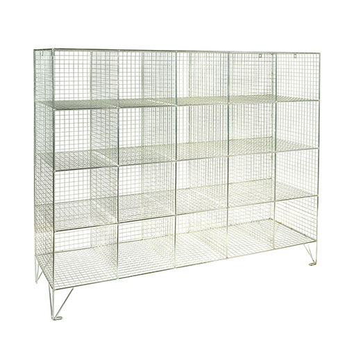 Wire Mesh Lockers 20 Compartments - 1370x1515x305mm