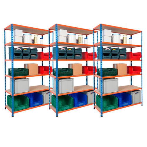 Light Duty Shelving 3 Bay Deal 200kg UDL - 6 MDF Shelves 1980h x 1220w