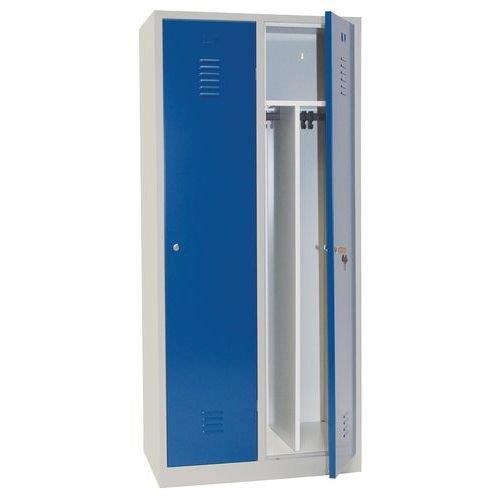 Clean & Dirty Lockers with Plinth - 2 Nest Grey Body & Cylinder Lock - 1800x800x500mm