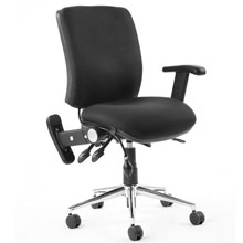 Chiro Medium Back Posture Chair Black Adj Arms