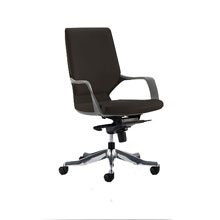 Leven Leather Office Chair Black Shell Black Leather