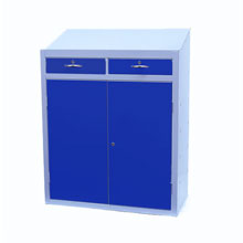 Metal Workstation Cabinet with blue closed doors and drawers