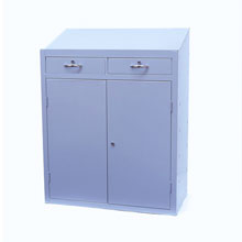Anti-Bacterial workstation with grey closed doors and drawers