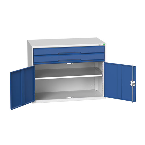 Bott Verso 1 Shelf 2 Drawer Combined Metal Tool Cabinet HxW 800x1050mm