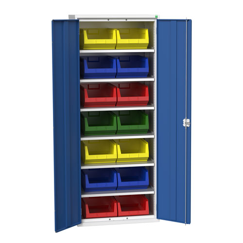 Bott Verso Workshop Storage Cabinet With 14 Bins HxW 2000x800mm