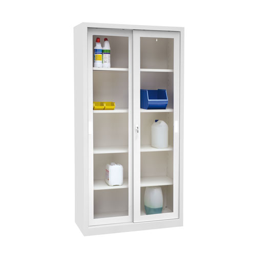 Manutan Sliding Vision Door Cupboard - 2000x1000x450mm