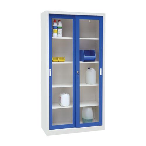 Manutan Sliding Vision Door Cupboard - 2000x1000x650mm