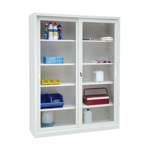 Manutan Sliding Vision Door Cupboard - 2000x1500x450mm