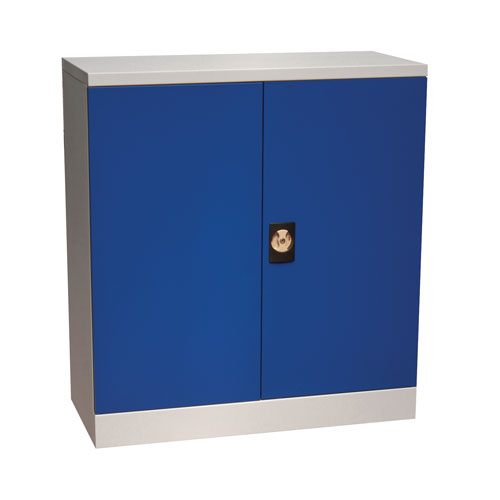 Manutan Flat Pack Cupboard with Louvre Panels - Blue