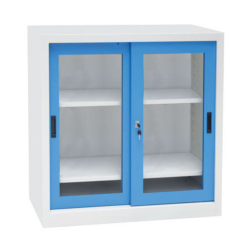 Manutan Sliding Vision Door Cupboard - 1000x1000x450mm