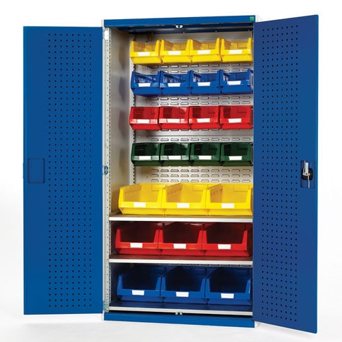 Bott Cubio Perfo Workshop Tool Storage Cabinet & 25 Bins 2000x1050mm