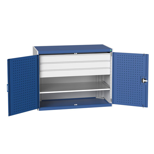 Bott Cubio Heavy Duty Cupboard With Perfo Storage Doors 1000x1300x650mm