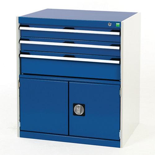 Bott Cubio Combi Cabinet Perfo Doors 1 Shelf And 3 Drawers 900x800x750