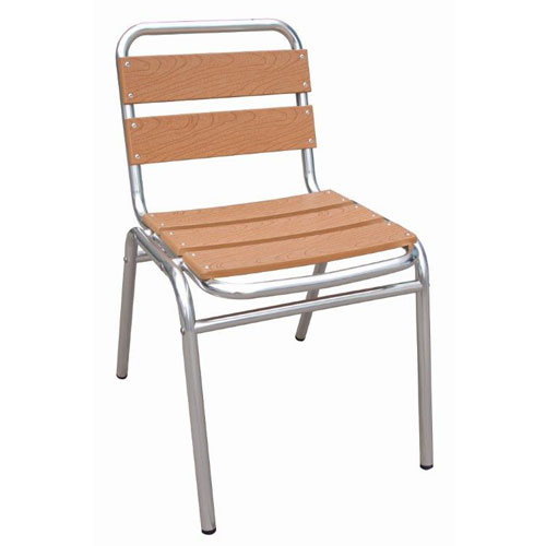 Wood & Aluminium Bistro Side Chair