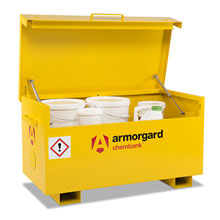 Yellow Chembank storage chest with lid open and storing chemical tubs.