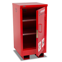 Slim Flamstor flammable cabinet with 2 shelves and single door.