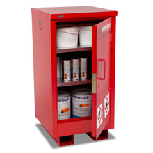 Slim Flamstor flammable cabinet filled with substances on 2 shelves.