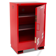 Flamstor flammable cabinet with main door open and 2 shelves.