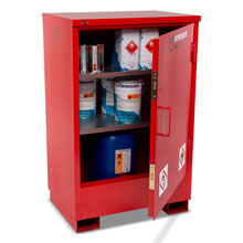 Flamstor flammable cabinet with hazardous chemicals inside.