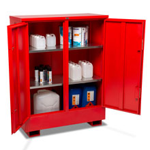 Flamstor flammable cabinet with double doors open.