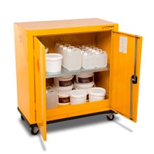 Mobile safestor cabinet filled with hazardous chemicals.