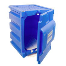 Countertop Plastic Corrosive chemical storage with door open.