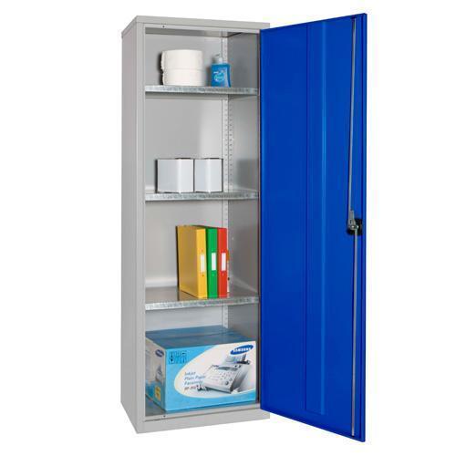 Narrow Lockable Storage Cupboard with 3 Shelves - 1830x610x457mm