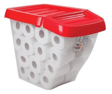 Bon Wham Plastic Storage Boxes With Hinged Lids 50L