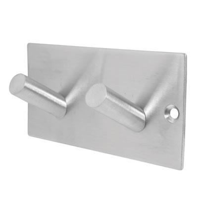 Jedo Square Horizontal Hook Plate - 94 x 46mm - Satin Stainless Steel