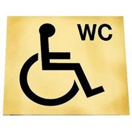 Disabled WC Toilet Signs - Gold/Black or Silver/Black