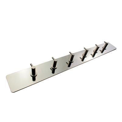Hook on Plate - 6 Hooks - Satin Stainless Steel