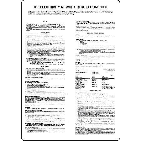 The Electricity at Work Regulations 1989 Work Signs
