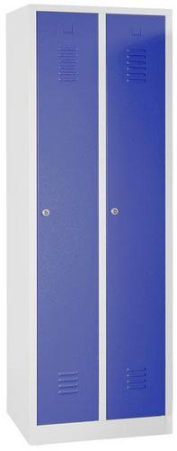 Storage Lockers Nest of 2 Grey Body with Plinth & Cylinder Lock - 1800x600x500mm