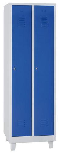 Storage Lockers - 2 Nest with Feet Grey Body & Cylinder Lock - 1900x600x500mm