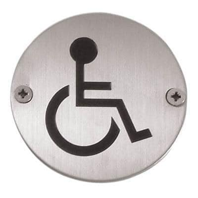 Disabled Toilet Door Sign 75mm Satin Stainless Steel Bienven