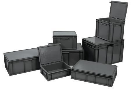 Euro Containers with Hinged Lid Grey