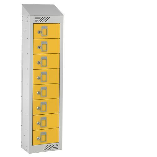 Personal Effects Lockers - 8 Doors - Sloping Top - 991x250x155mm